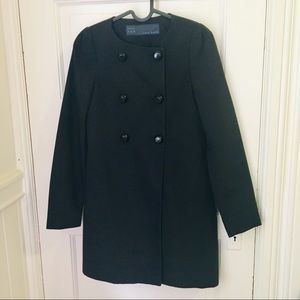 Zara Black Double Breasted Button Down Trench Coat